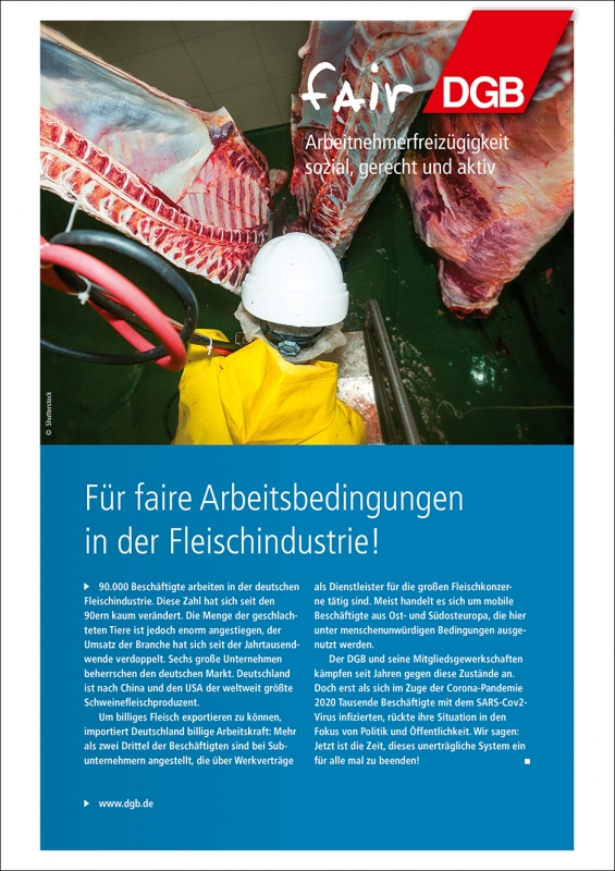 Für faire Arbeitsbedingungen in der Fleischindustrie
