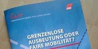 """Broschüre """"Grenzenlose Ausbeutung oder faire Mobilität"""""""
